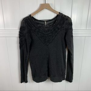 Free People Dark Gray Thermal Embroidered Top Med